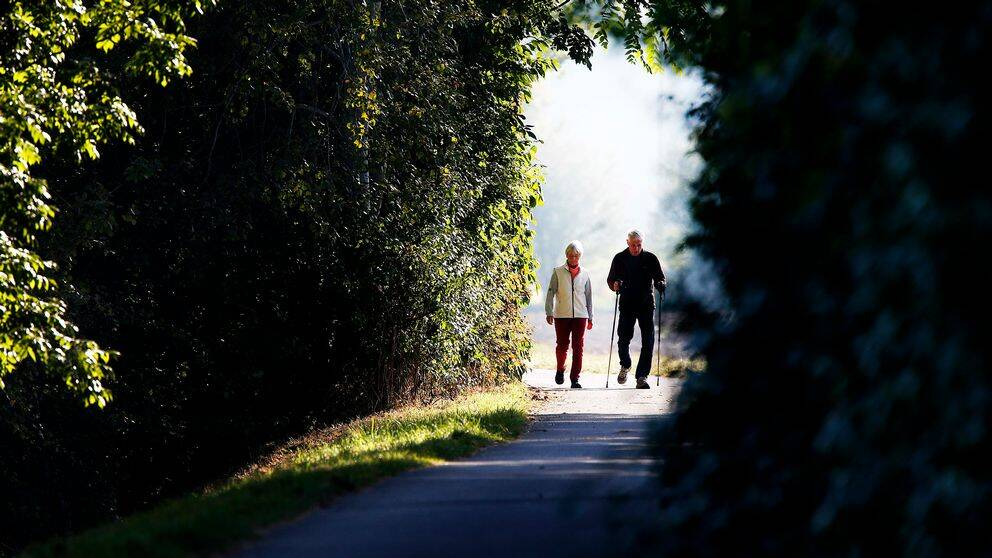 Billden visar en kvinna och en man på promenad. Mannen använder stavar.