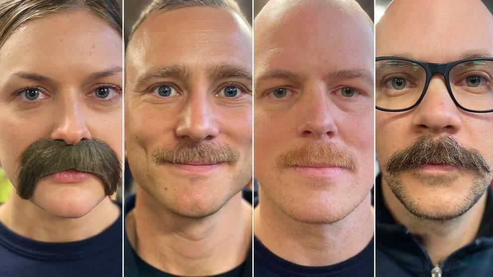 en kvinna och tre män med mustasch