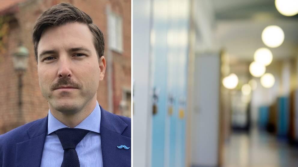 Patric Åberg, till vänster. Till höger en tom skolkorridor.