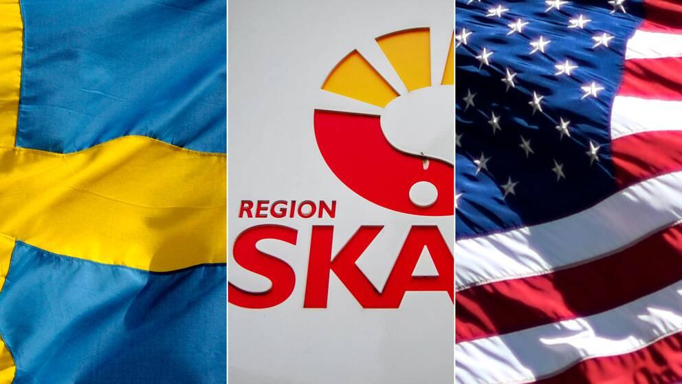 svensk flagga region skåne logga amerikansk flagga