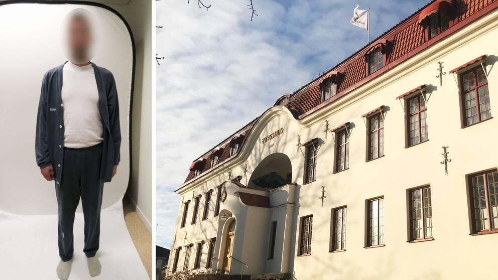 Splitbild. Vänster del: En man med censurerat ansikte. Höger del: Hudiksvalls tingsrätt.