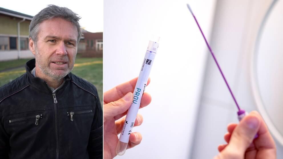stephan stenmark smittskyddsläkare intervjuas utanför regionens hus i Umeå, till höger ett covid-test