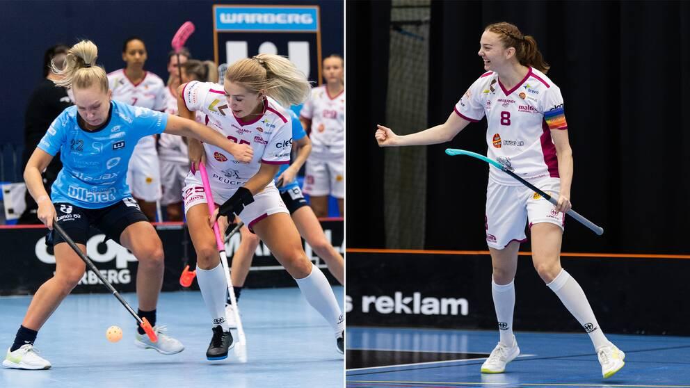 Warbergs Amanda Ahola och Malmö FBC:s Johanna Ejdelind till vänster, Ellen Rasmussen till höger.