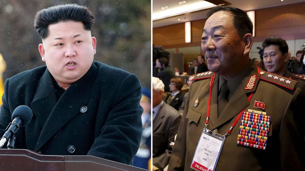Nordkoreas ledare Kim Jong Un och försvarschefen Hyon Yong Chol.