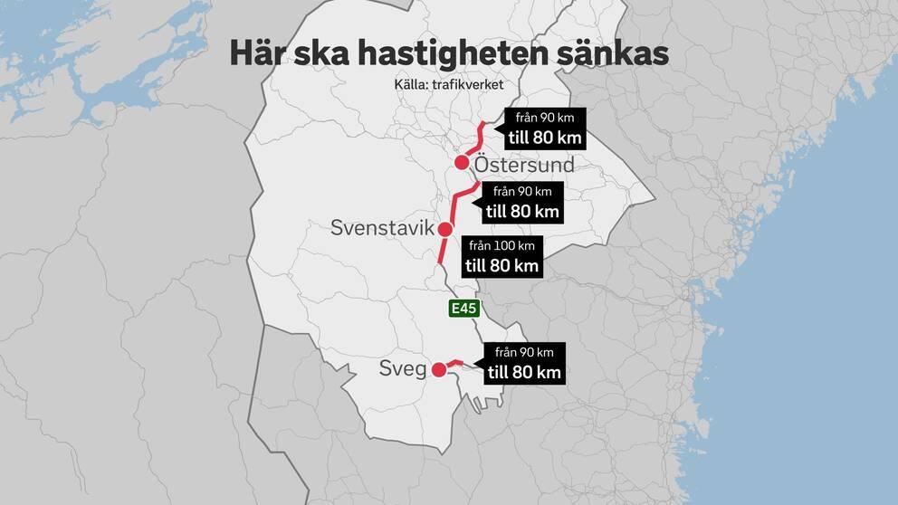 karta över Jämtlands län, med bitar av E45 rödmarkerad. På de rödmarkerade sträckorna sänks hastigheten till 80 kilometer i timmen.