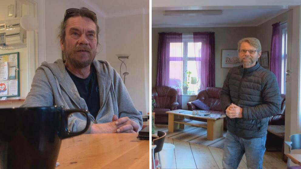en hemlös man och en annan man i riastugan i Falun