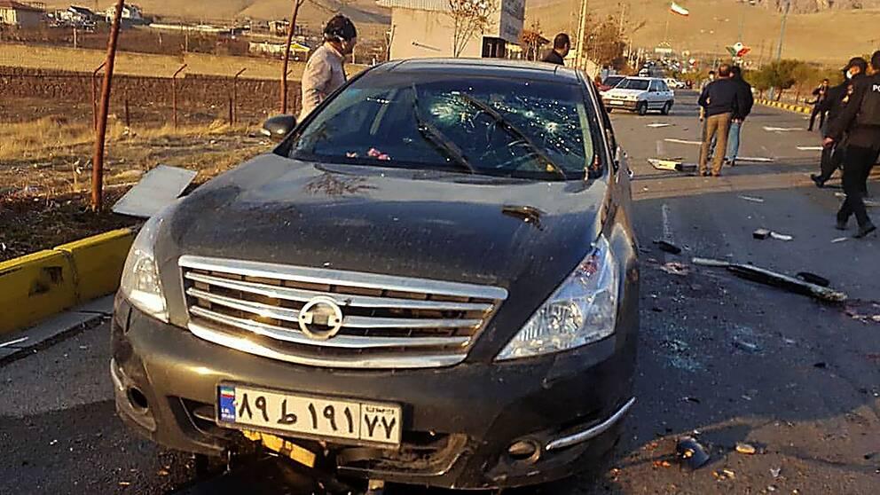 Bilen som den iranske kärnforskaren satt i vid attacken.