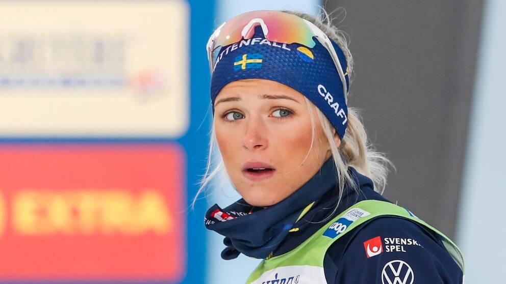 Frida Karlsson bar inte munskydd efter dagens tävling.