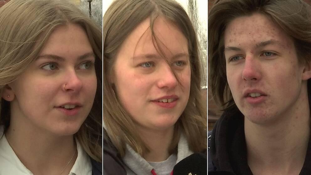 Trebild. Längst till vänster blond tjej med blå ögon och ring i näsan. I mitten tjej med cendrefärgat hår, till höger kille med mörkt halvlångt hår.