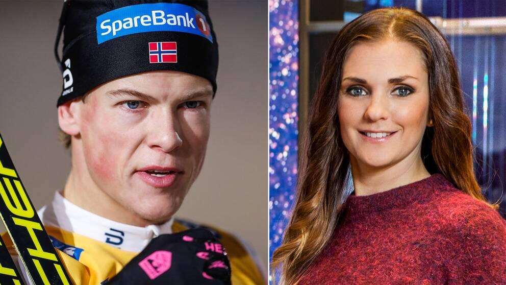 Johannes Hösflot Kläbo och SVT:s skidexpert Johanna Ojala