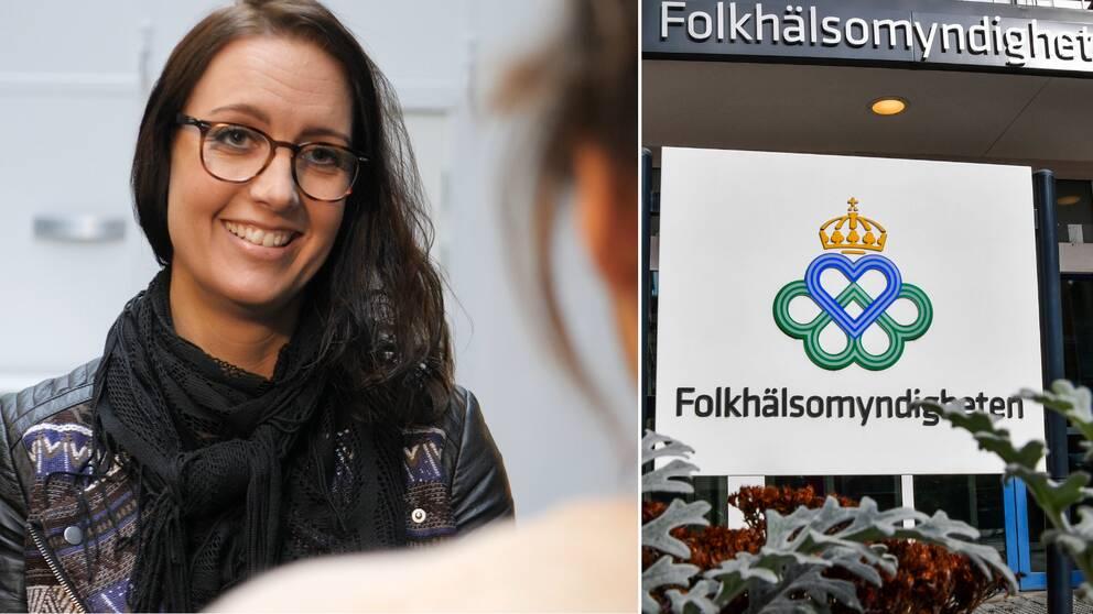 Kvinna med glasögon och mörkt hår till vänster, Folkhälsomyndighetens logga till höger.