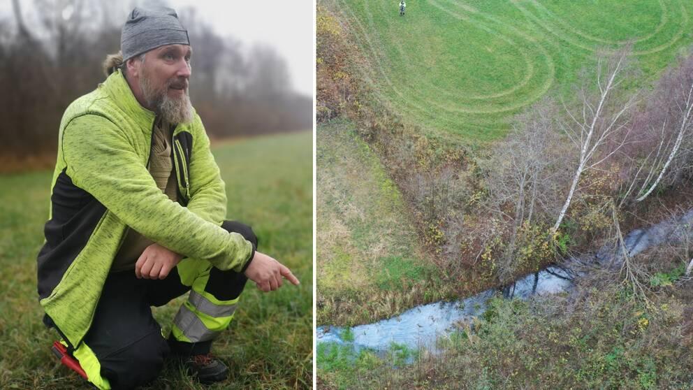 Christian Johansson, hållbarhetsstrateg ville själv undersöka förhållandena runt den infiltrationskanal för dricksvatten där man sett förhöjda värden av nitrat. Han häpnade över det han upptäckte.