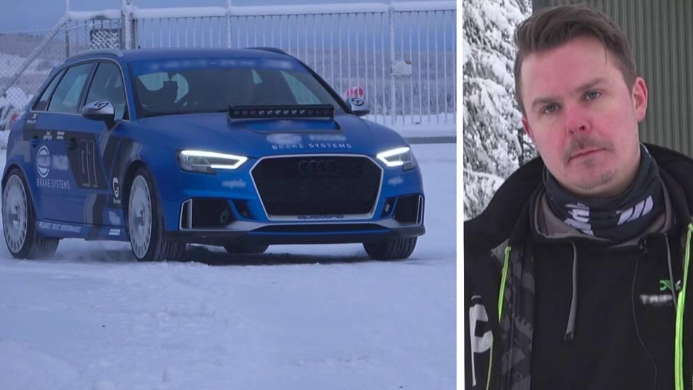 en sportbil på snö, och bild på Möller – en man