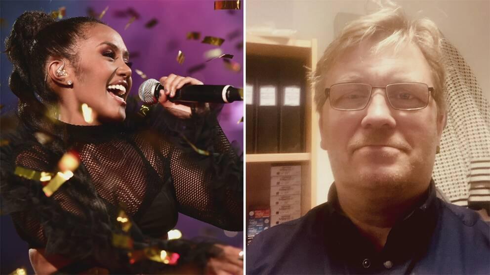 Kollagebild, en bild på en sångerska och en bild på en man i glasögon.