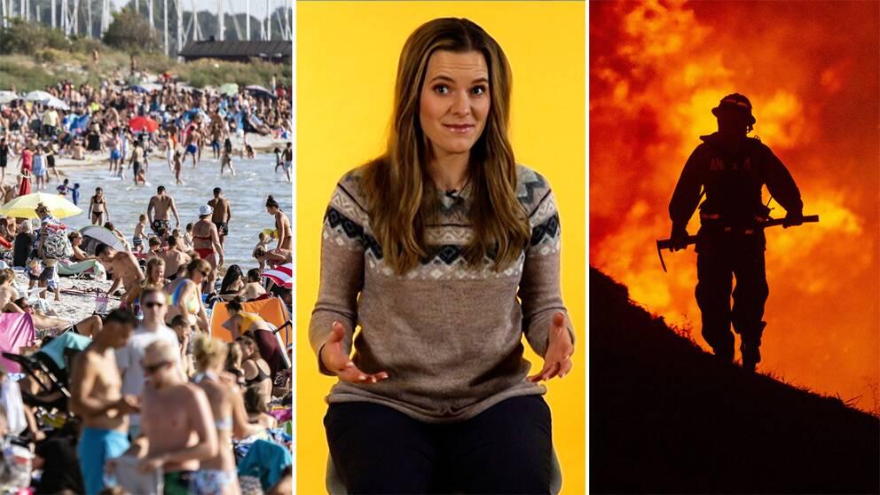 Strand i Lomma, meteorolog Tora Tomasdottir och en silhuett av en brandman framför en eld.