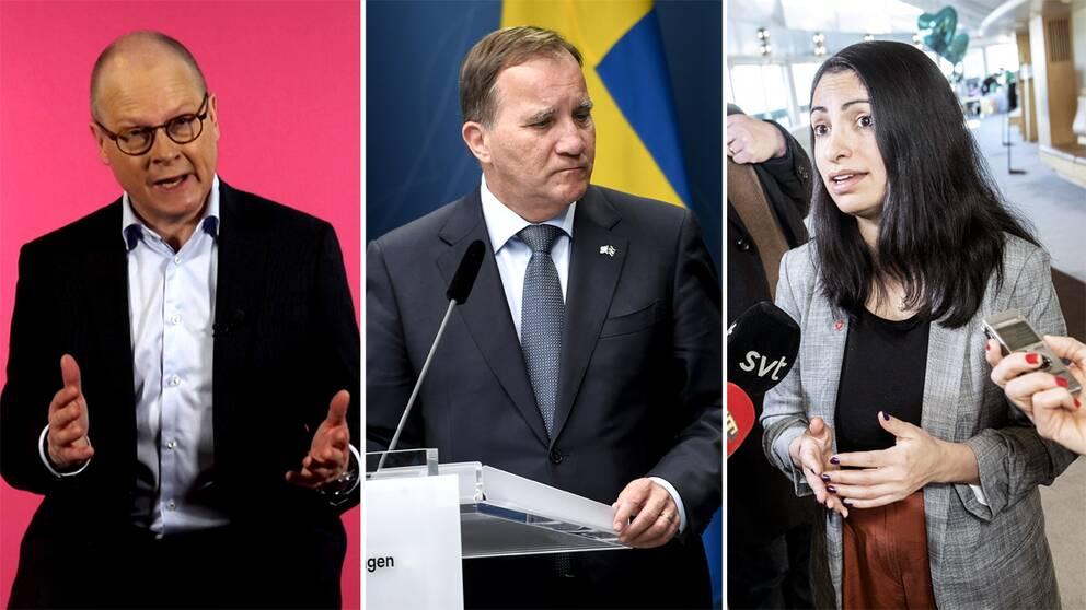 SVT:s politikreporter Mats Knutson, statsminister Stefan Löfven (S) och partiledaren Nooshi Dadgostar (V).