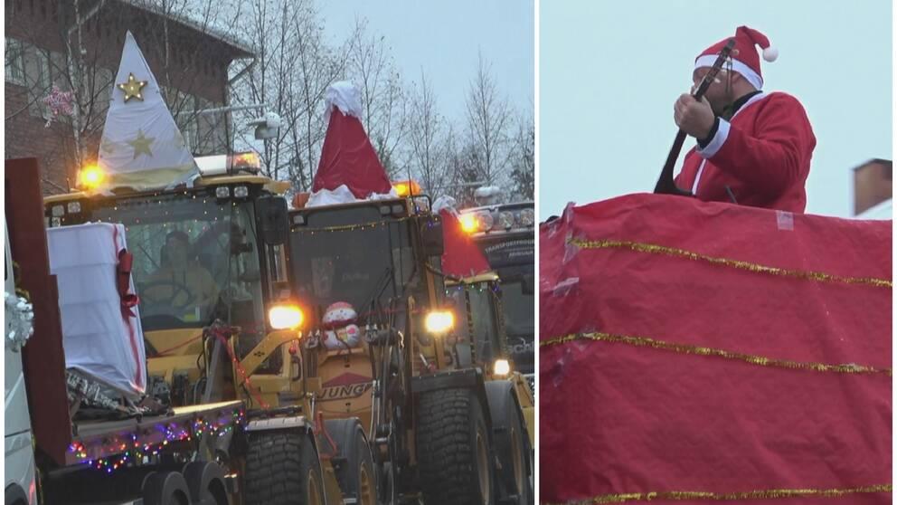 Luciatåg med traktorer och lastbilar.