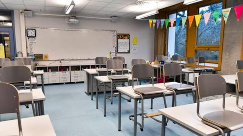 Tomt klassrum i en skola i Stockholm.