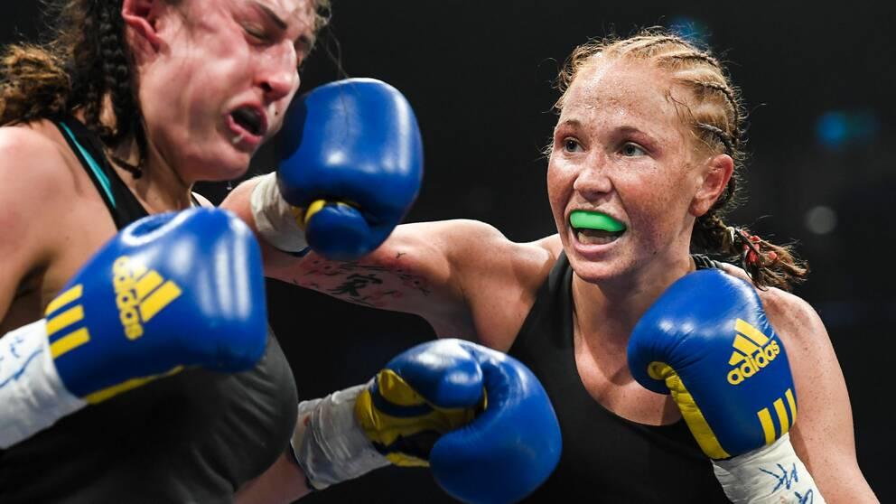 Patricia Berghult under en boxningsmatch i Nyköping 2016. Arkivbild.