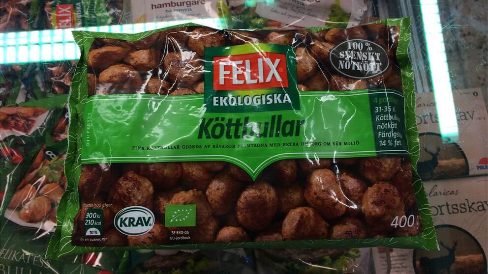 Ekologiska köttbullar, tillverkare Felix Salt per 100 gram: 1,3 g Salt per portion: 8 köttbullar 1,3 gram