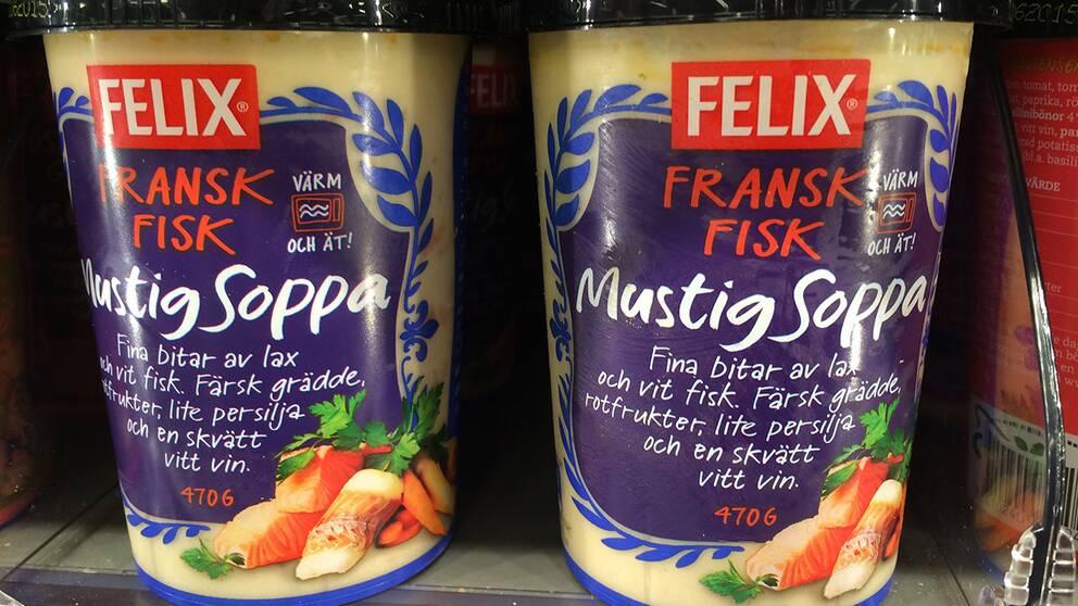Fransk fisk, mustig soppa, tillverkare Felix Salt per 100 gram: 0,96 g Salt per portion: 4,5 g