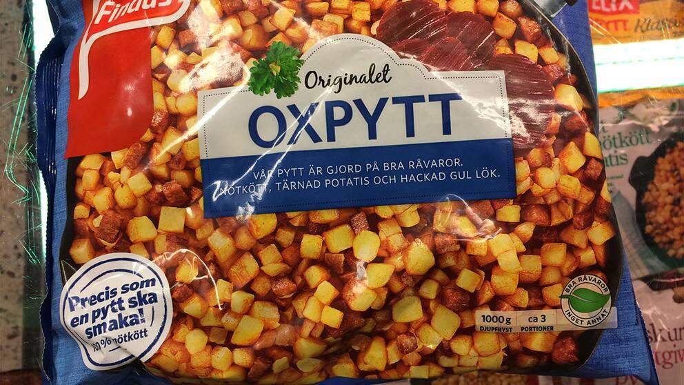 Oxpytt, tillverkare Findus Salt per 100 gram: 1,1 g Salt per portion (350 gram): 4 g
