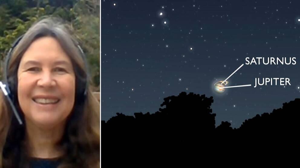 Maria Sundin berättar hur du kan se mötet mellan Jupiter och Saturnus den 21 december.
