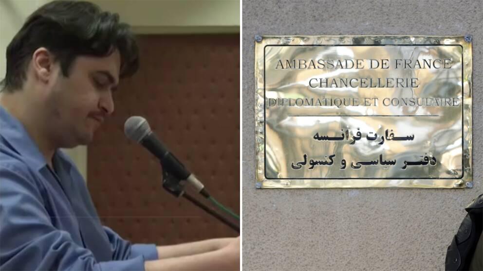 Journalisten Ruhollah Zam och skylt vid Frankrikes ambassad i Teheran.