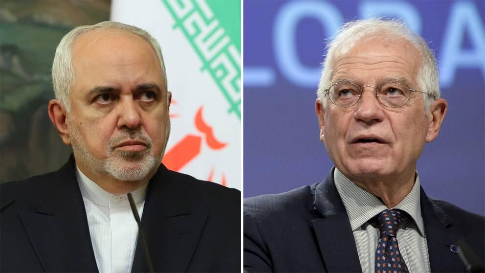Irans utrikesminister Mohammad Javar Zarif och EU:s utrikeschef Josep Borell