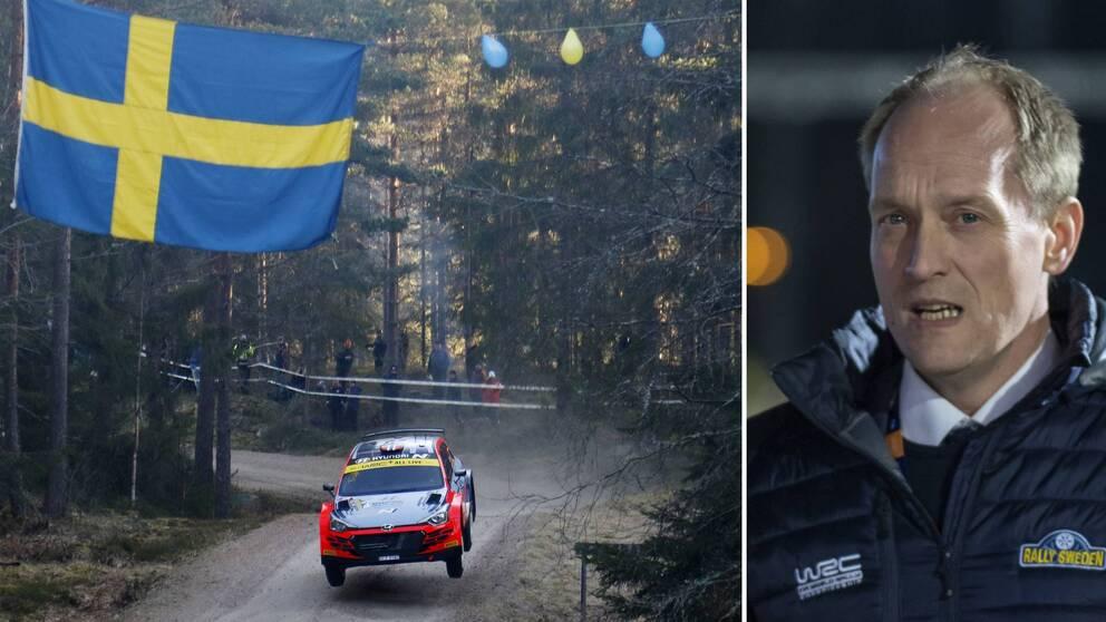 Två bilder. En rallybil och en svensk flagga på en sträcka från rallyt 2020 samt rallyts vd Glenn Olsson.