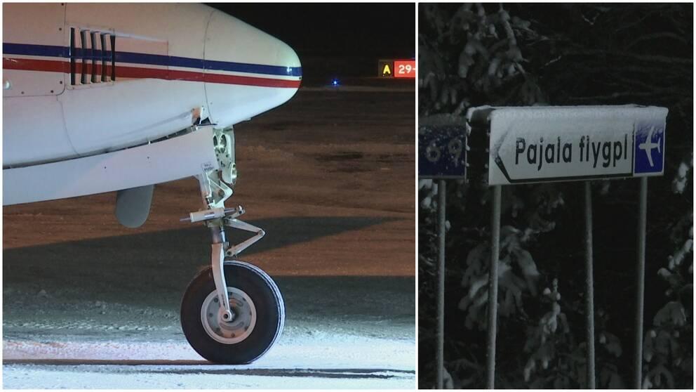 Flygplan och skylt till Pajala flygplats.