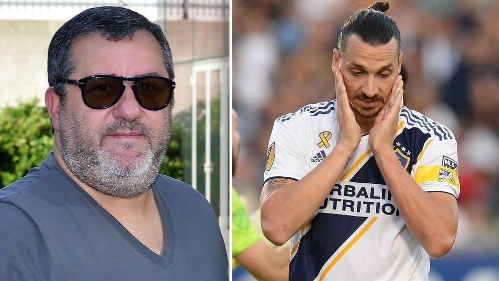 Agenten Mino Raiola ångrar att han tog Zlatan Ibrahimovic till USA.