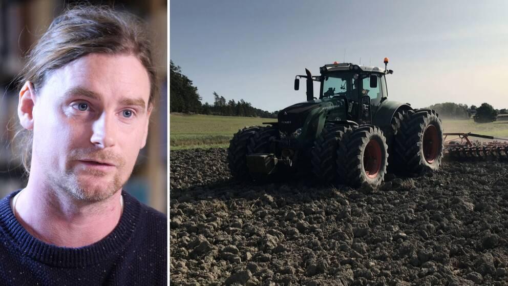 LRF:s förbundsordförande Palle Borgström och arbetsmaskin på åker.