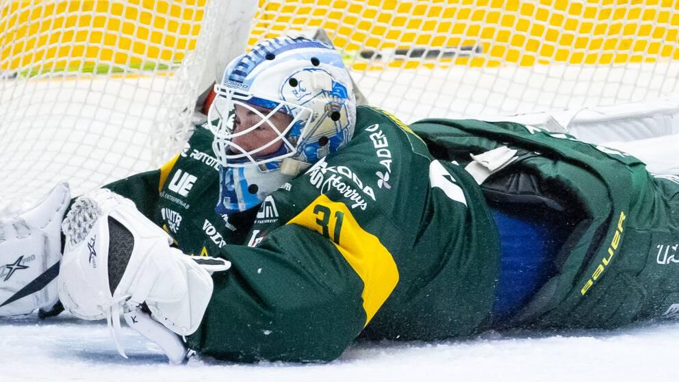 Björklövens Connor Ingram under ishockeymatchen i Hockeyallsvenskan mellan Björklöven och Mora den 14 December 2020 i Umeå.
