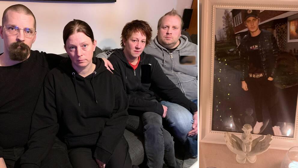 Caspers styvfar Wiking Fagerlund tillsammans med mamma Therese Fagerlund och hans pappa Ted Nilsson med sin sambo Anna Strandell.