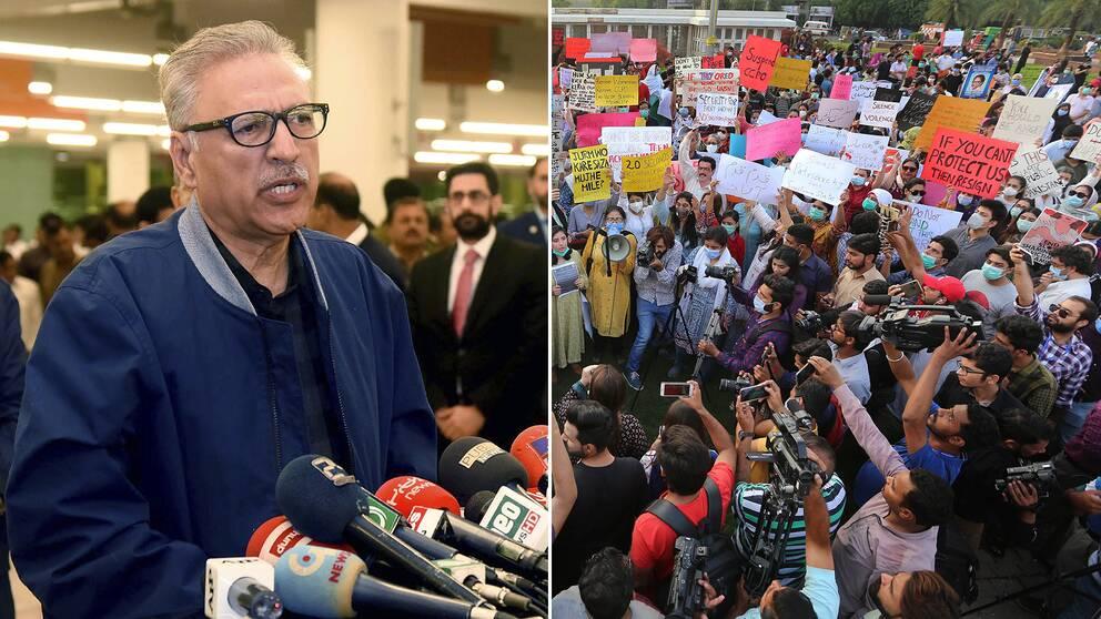 Tuffare lagstiftning mot våldtäkt har godkänts i Pakistan, efter stora protester. Bilden visar president Arif Alvi, samt människor som protesterar efter att en kvinna gruppvåldtagits då hennes bil gått sönder vid en motorväg.