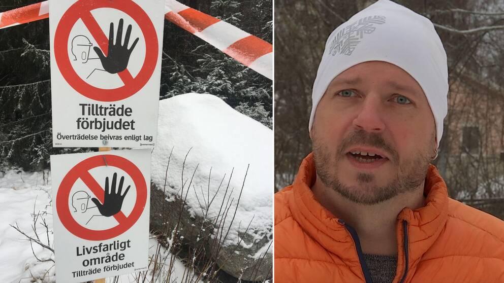 """Dubbelbild. Till vänster varningsskyltar med texten """"Tillträde förbjudet"""" och """"Livsfarligt område"""". Till höger skäggig man med vit mössa och orange jacka."""