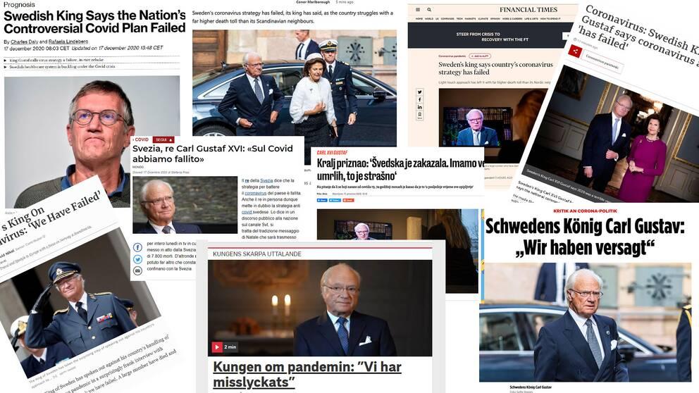 En samling av bilder på artiklar om kungen från internationella medier.