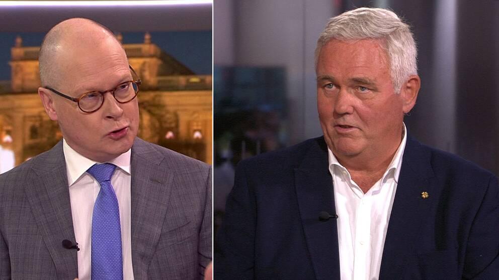 Montage. Mats Knutson, SVT:s inrikespolitiska kommentator, och Anders W Jonsson, C:s sjukvårdspolitiske talesperson.