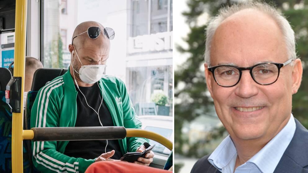 Bilden visar en man med munskydd på en buss i Stockholm och Mattias Adell, tillförordnad vd på branschorganisationen Svensk Kollektivtrafik.
