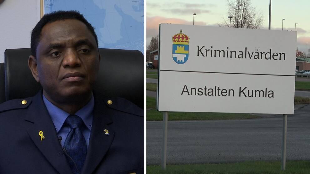 Till vänster Kumlaanstaltens chef och till vänster en bild på anstaltens skylt.