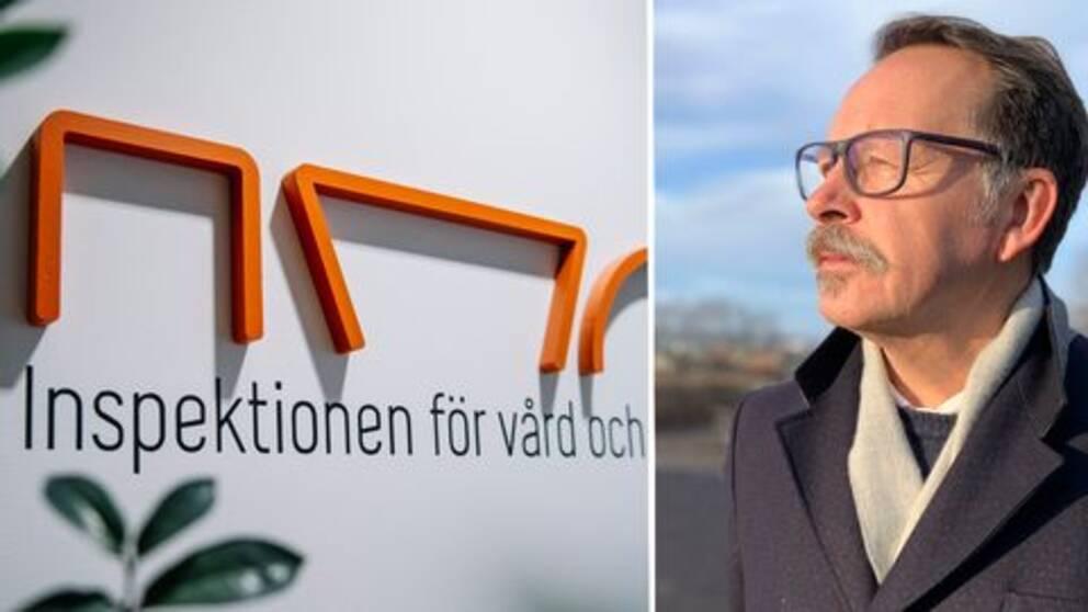 Ett fotomontage av loggan till Inspektionen för vård och omsorg och en bild på Lars Thunberg (KD)