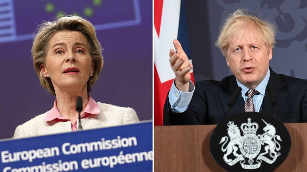 Ursula von der Leyen, EU-kommissionens ordförande, och Boris Johnson, Storbritanniens premiärminister, den 24 december.