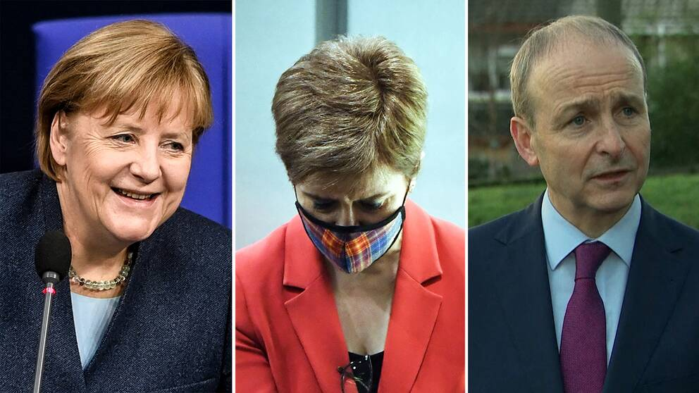 Angela Merkel, Nicola Sturgeon och Micheál Martin.