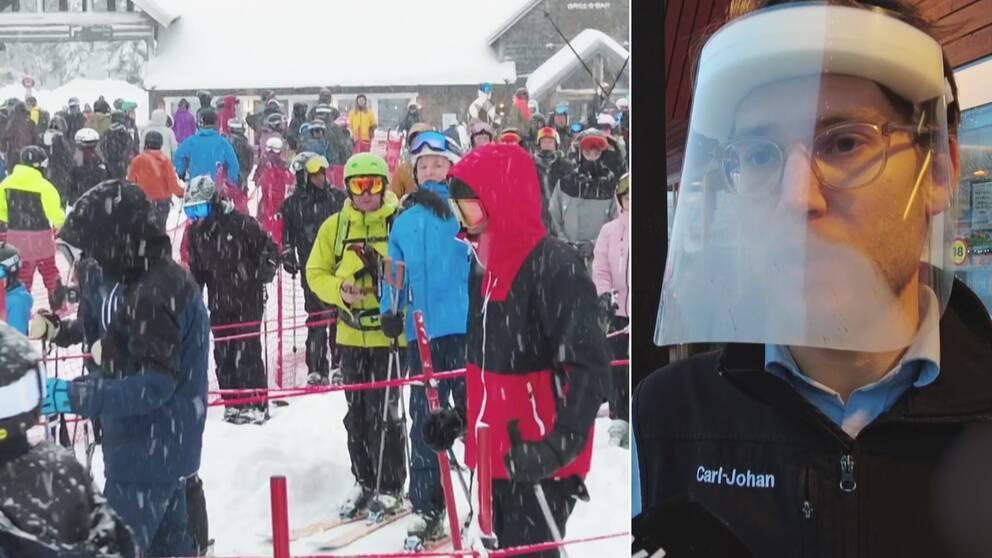 Skidor, visir, åtgärder, coronasmitta, handlare, vinterturister, skidåkning