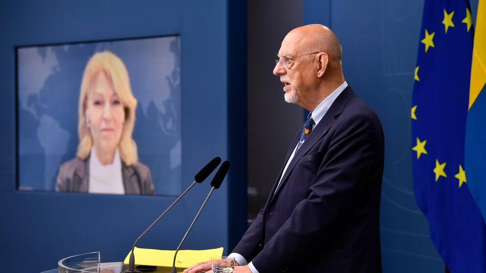 Utrikeshandelsminister Anna Hallberg och EU-minister Hans Dahlgren