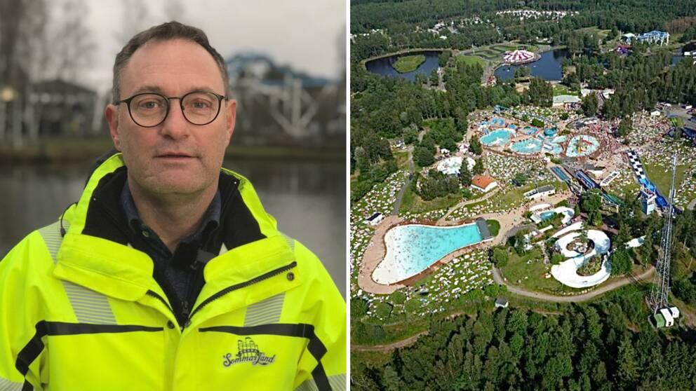 Janne Nilsson, vd Skara Sommarland och flygbild över Sommarland med mycket folk