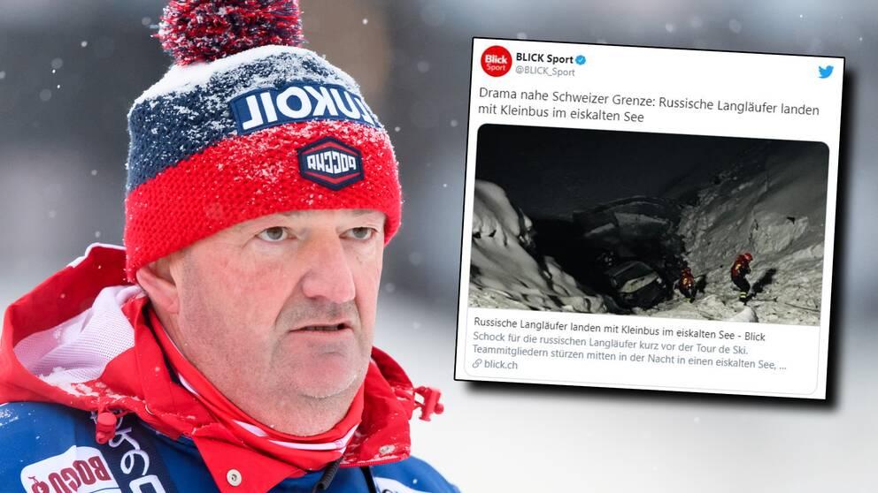 Ryska längdlandslaget var inblandat i en trafikolycka på väg till Tour de Ski.