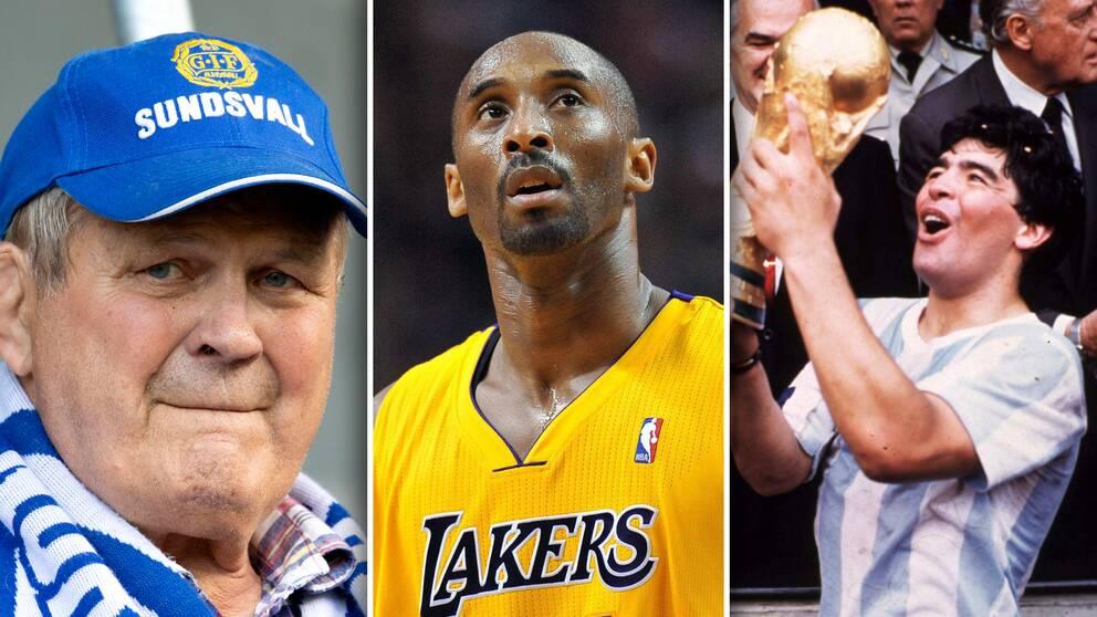 Pelle Svensson (brottning), Kobe Bryant (basket) och Diego Maradona (fotboll) är några av idrottsstjärnorna som gått bort under 2020.
