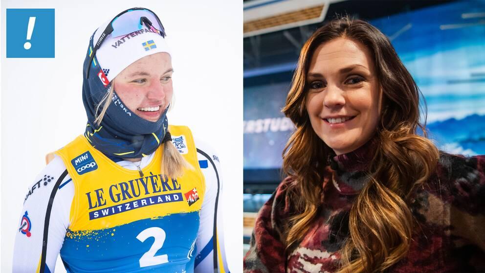 Linn Svahn och SVT Sports expert Johanna Ojala